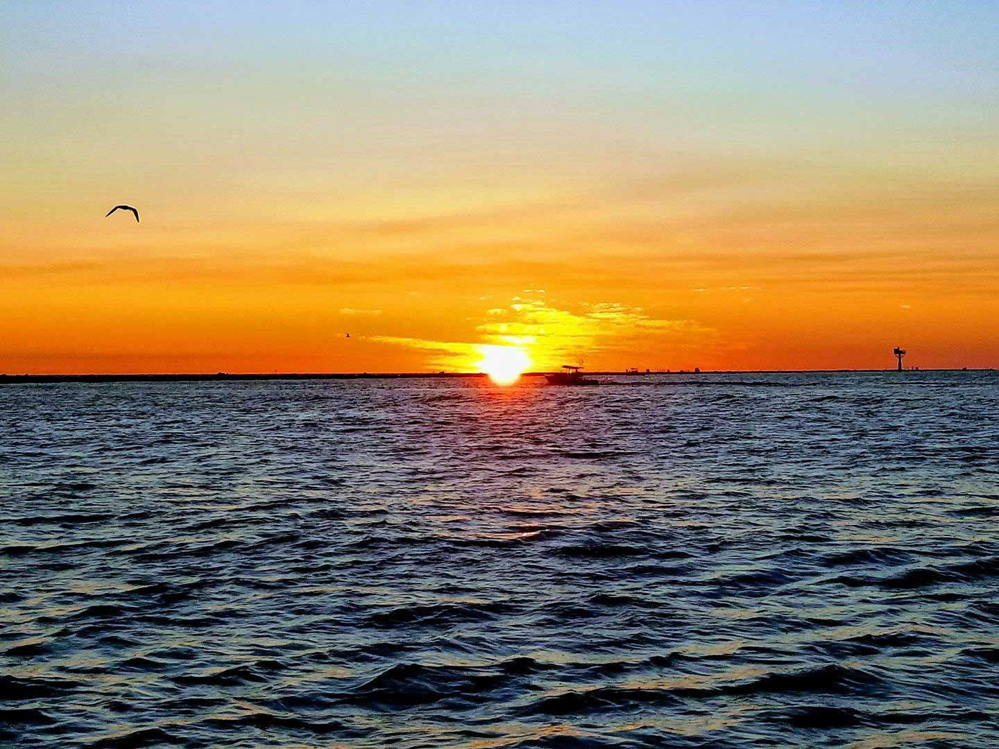 Sunset over Texas City dike